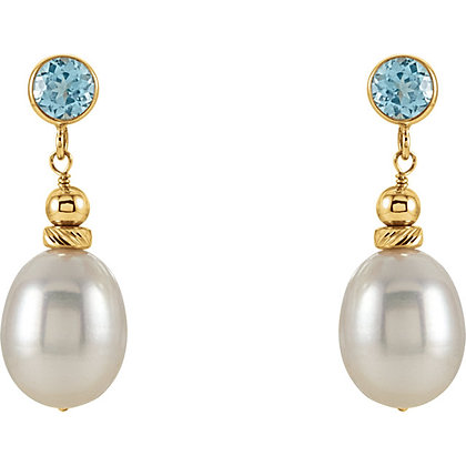 14K Gold Dangle Pearl Earrings With Choice Of Swiss Blue Topaz Or Amethyst