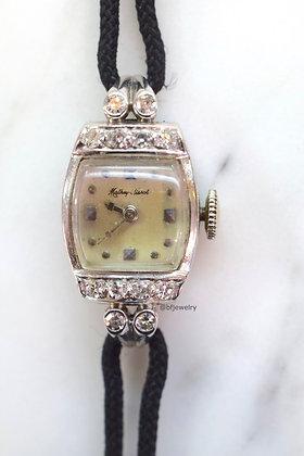 Vintage Mathey-Tissot 14K White Gold Diamond Watch