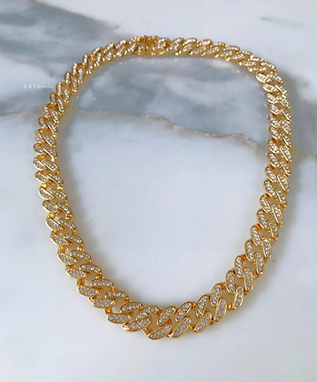 Gold Plated Iced Out Cuban Link Chain