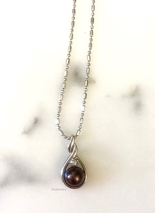 14K White Gold Pearl And Diamond Necklace