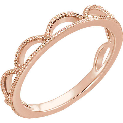 Any Color 14K Gold Vintage Style Stackable Band