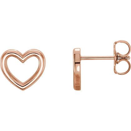 Open Heart Stud Earrings: Any Color 14K Gold