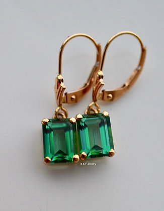 14kt Yellow Gold Emerald Cut Rainforest Green Topaz Lever Back Dangle Earrings