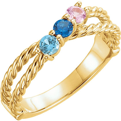 Custom Any Color Solid Gold 1 to 6 Birthstone Ring