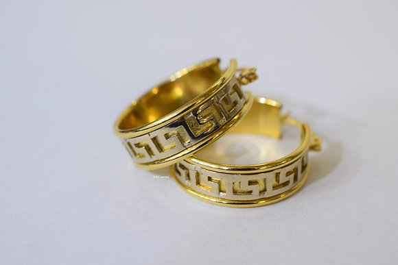 14K Bi-Color Gold Greek Key Hoop Earrings