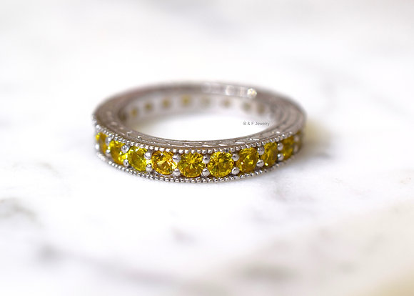 Vintage Style 14K White Gold 2.45 Carat Yellow Sapphire Eternity Band