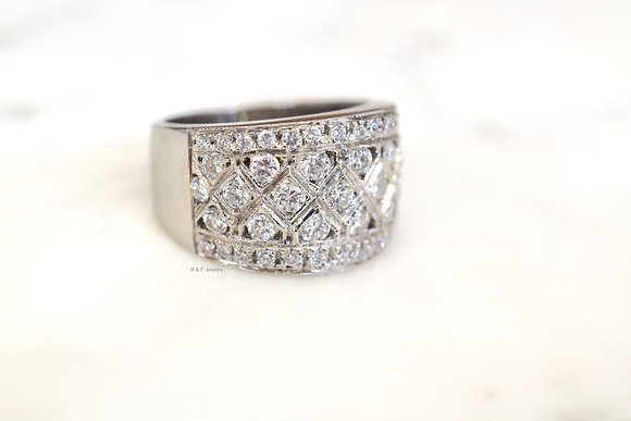 Vintage Style 14K White Gold Wide Anniversary Band