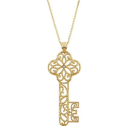 14K Yellow Diamond Key Necklace
