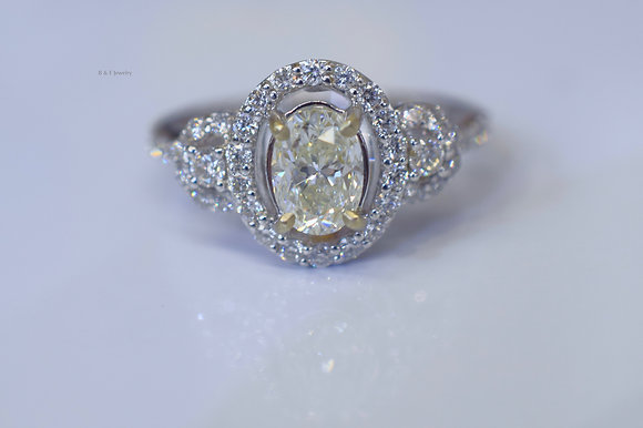 EGL Certified 1.68 Carat Oval Diamond Engagement Ring