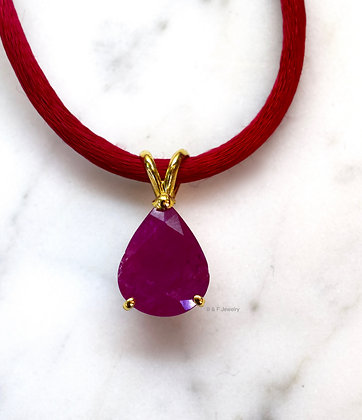 14K Gold Pear Shape Burmese Pink Ruby Necklace