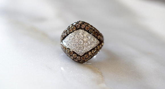 18K White Gold White And Cognac Diamond Ring