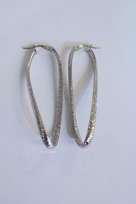 14K White Gold Gold Textured Twist Hoop Earrings