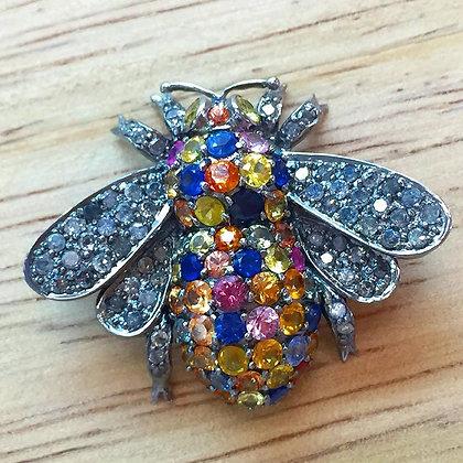 Multi-Color Sapphire And Diamond Bee Brooch