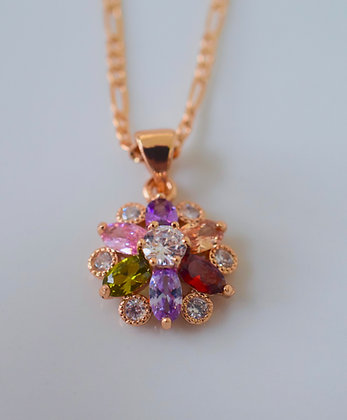 Rose Gold Plated Multicolor Stone Floral Design Necklace