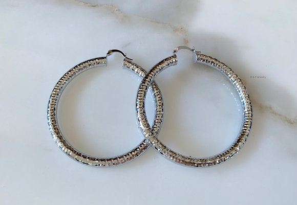 White Diamond Cut Tube Hoops