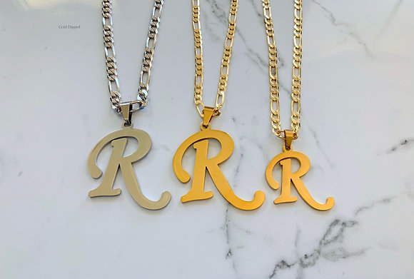 White Or Yellow Gold Dipped Large Initial Pendant On Chain