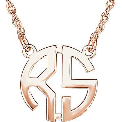 Any Color 14K Gold 2 Letter Monogram Necklace