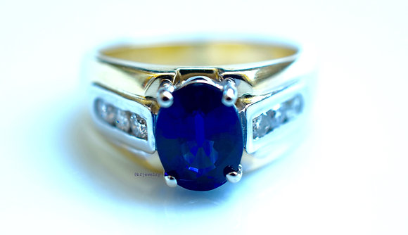 Oval Kyanite And Diamond Ring
