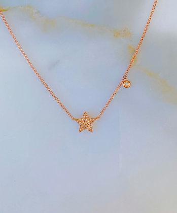 14K Rose Gold Diamond Star Necklace