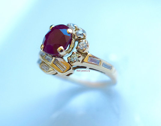 Vintage Style 14K Gold Ruby And Diamond Ring