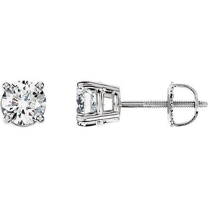Dainty 14K White Gold Diamond Studs