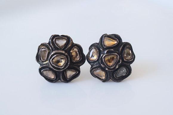 Antique Style Floral Diamond Studs