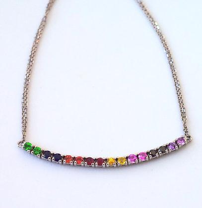 14K White Gold Multi Gemstone Rainbow Bracelet