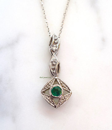 Vintage Style Emerald And Diamond Necklace