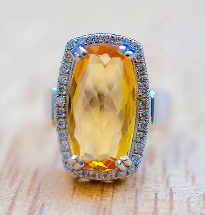 6.09 Ct. Imperial Topaz & Diamond Ring- Appraised