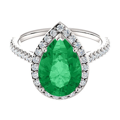 Pear Shape Imitation Emerald And Natural Diamond Ring