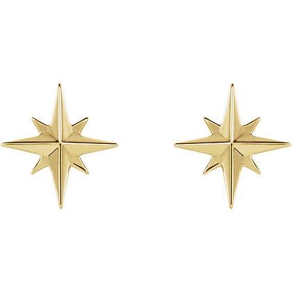 Any Color 14K Gold Star Earrings