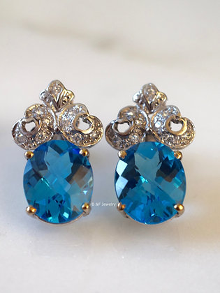 Vintage Style 14K White Oval Gold Swiss Blue Topaz And Diamond Earrings