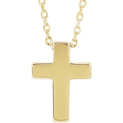Any Color 14K Gold Cross Necklace- Has Earrings