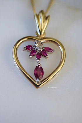 14K Gold Ruby And Diamond Heart Necklace