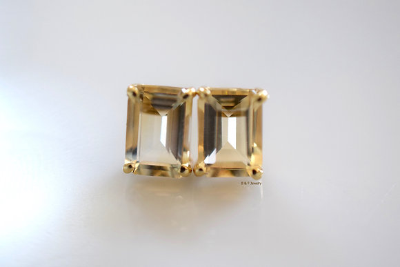 14K Gold Emerald Cut Citrine Stud Earrings