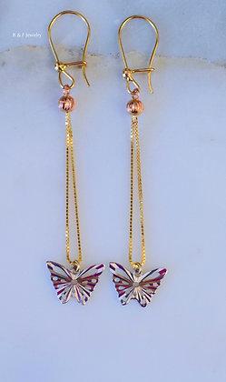 14K Tricolor Gold Butterfly Drop Earrings