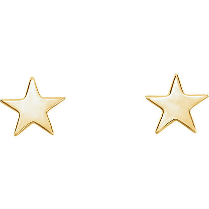 Any Color 14K Gold Star Stud Earrings