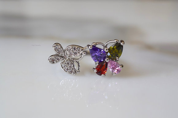 White Gold Plated Multicolor Stone Butterfly Bypass Ring