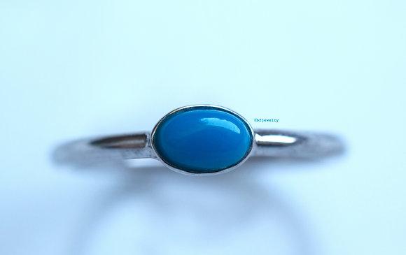 14K White Gold Turquoise Ring