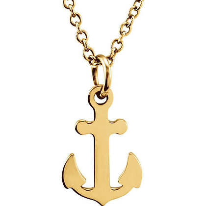 Any Color Solid 14K Gold Anchor Necklace