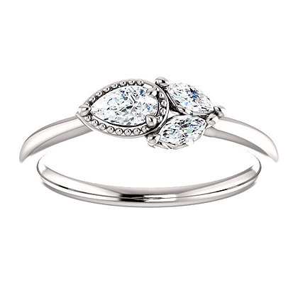 Any Color 14K Gold White Sapphire Ring