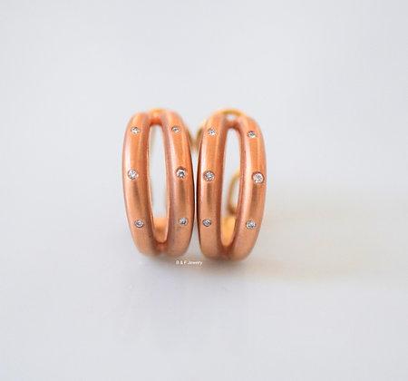 14K Rose Gold Diamond Earrings- Has Matching Bangle