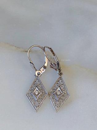 Vintage Style 14K White Gold Diamond Filigree Design Drop Earrings