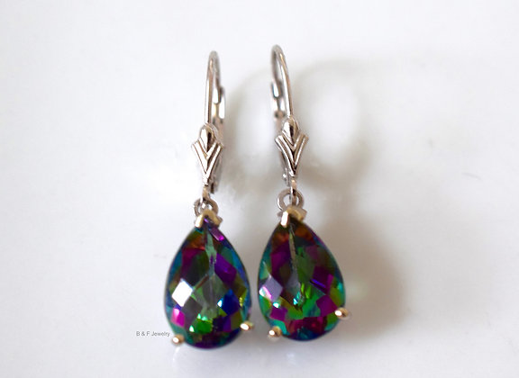 14K White Gold Pear Shape 8.12 Carat Mystic Topaz Earrings