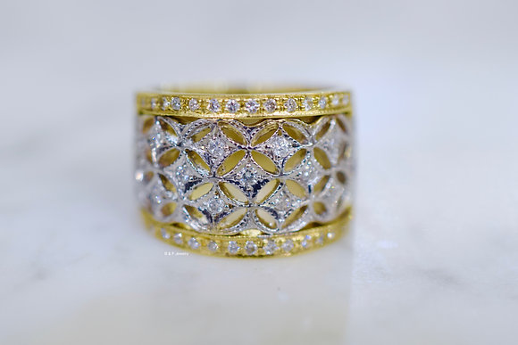 14K Bi-Color Gold Lattice Wide Diamond Band