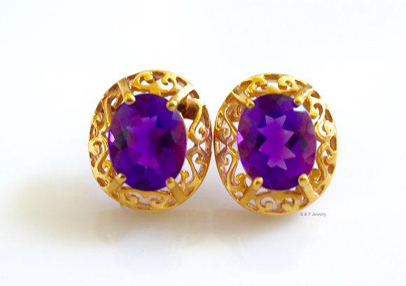 14K Gold Oval 4.98 Carat Amethyst Earrings