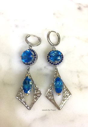 14K White Gold Swiss Blue Topaz And Sapphire Earrings
