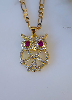 Gold Plated Diamond And Ruby Inspired Owl Necklace With 3 Chain Style Choices