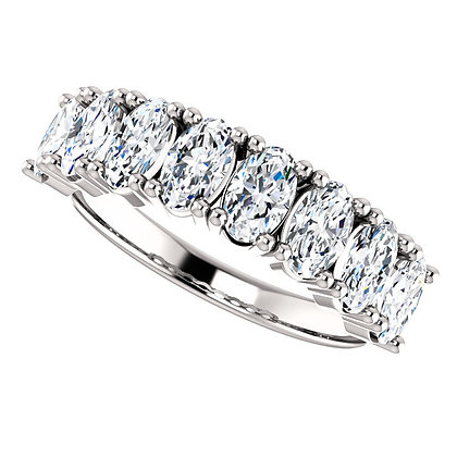 Any Color 14K Gold Oval White Topaz Band