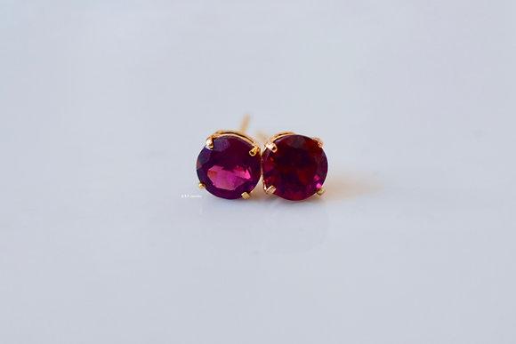 14K Yellow Gold Rhodolite Stud Earrings